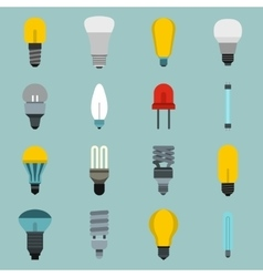 Light bulb icons set flat style vector image