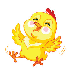 little cute funny yellow chicken rolling vector image