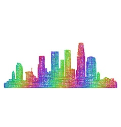 Los angeles skyline - multicolor line art vector