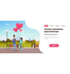 Man giving woman pink heart shape air balloons vector