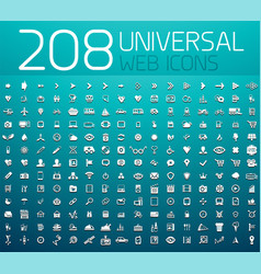 Mega collection 208 universal web icons vector