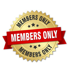 Members only 3d gold badge with red ribbon vector
