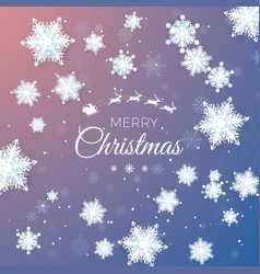 merry christmas greeting card paper snowflakes vector image