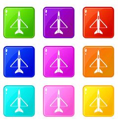 military aircraft icons 9 set vector image