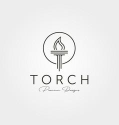 minimal torch icon logo line art symbol design vector image