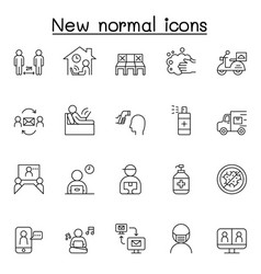 new normal icons set in thin line style vector image