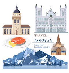 norway set collection with salmon architecture vector image