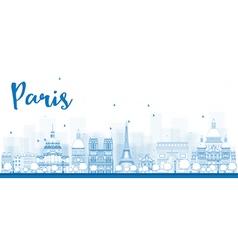 Outline Paris skyline with blue landmarks vector