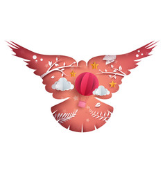Paper dove cloud air balloon star vector