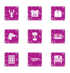 Peeping icons set grunge style vector