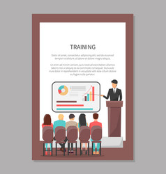 People look at presentation at business classes vector