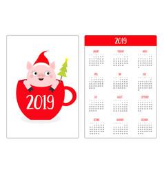 Pig piggy in red coffee tea cup santa hat snow vector
