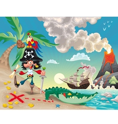Pirate on island vector