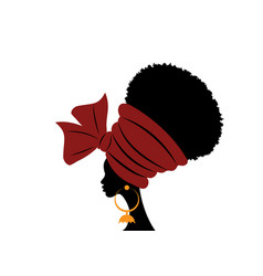 portrait beauty african woman traditional turban vector image