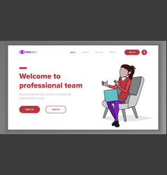 professional team landing page concept vector image