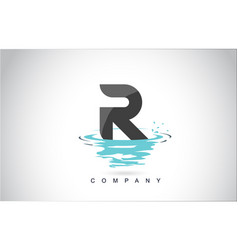 r letter logo design with water splash ripples vector image