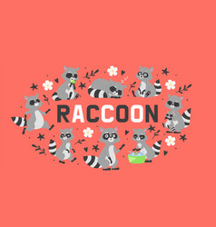 raccoon in different positions doing various vector image