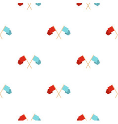 Red and blue crossed flags pattern seamless vector