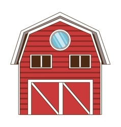 red wooden barn icon vector image