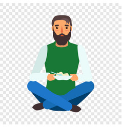 refugee man eat icon flat style vector image