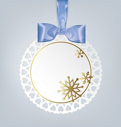 Round card with snowflakes vector