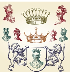 Royal heraldry icons vector