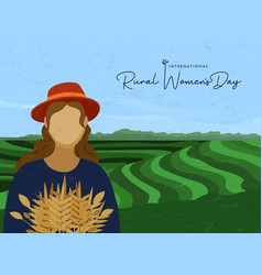 Rural womens day card farmer worker woman vector