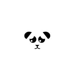 Sad panda or panda bear head logo design modern vector
