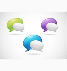 satin web icon green purple and blue speech vector image