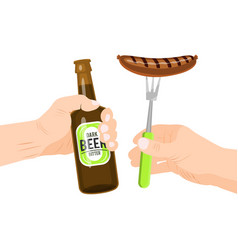 sausages and beer isolated vector image