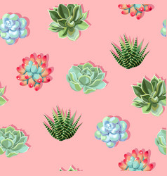 seamless pattern with high detail succulent vector image