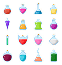 Set magic potion in bottle isolated on white vector