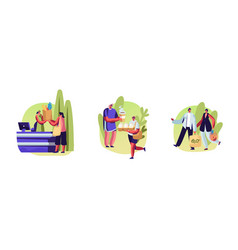 Set male and female characters use eco packing vector