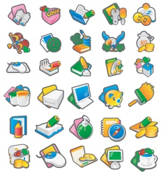 Set of cartoon icon 1 vector image