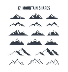 set of hand drawn mountain silhouettes mountains vector image