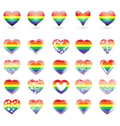 Set of hearts with rainbow colors vector