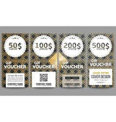 Set of modern gift voucher templates Islamic gold vector