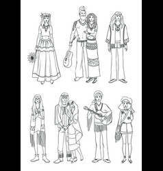 Set of various hippie people in different clothes vector