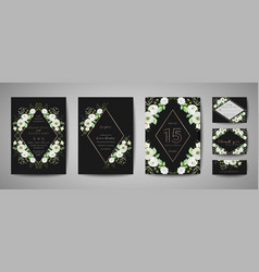 set wedding invitation floral invite thank you vector image