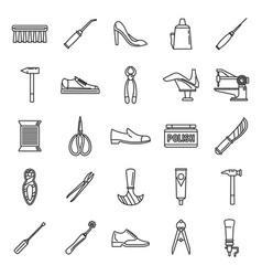 Shoe repair shop icons set outline style vector