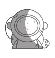 Silhouette nice astronaut with equipment to kawaii vector