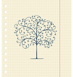 Sketch Floral Tree vector image