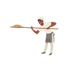 Smiling african american baker character in vector