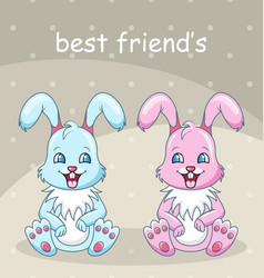 smiling rabbits - best friends boy and girl vector image