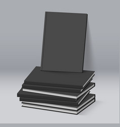 Stack of blank black books business mockup vector