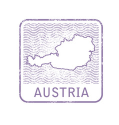 Stamp with contour of map of austria vector
