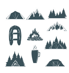 Summer camp with design elements camping vector