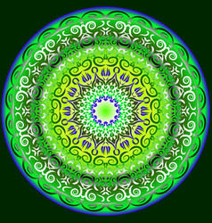 Symmetrical circular pattern in bright colors vector