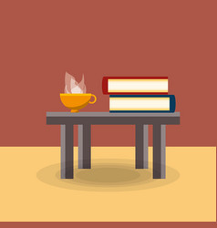 table with books and coffee vector image