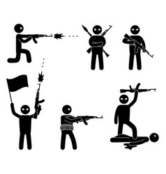 terrorism concept set of terrorist people world vector image